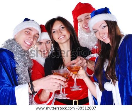 Happy friends celebrate xmas - stock photo