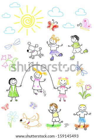 Happy friends, playing outdoors. Rasterized version of vector illustration - stock photo