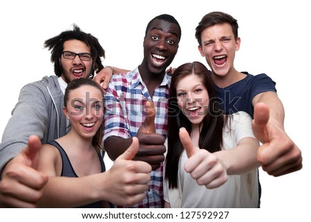Happy Friends Showing Thumb Up Sign On White Background - stock photo