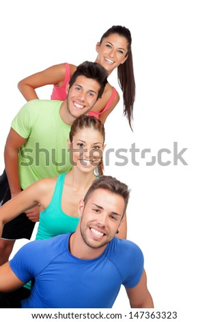 Happy friends with colored sportswear isolated on white background - stock photo