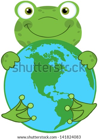 Happy Frog Hugging Planet Earth. Raster Illustration.Vector Version Also Available In Portfolio. - stock photo