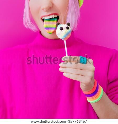Happy Funny Girl. Love Sweets. Panda Candy and Rainbow - stock photo