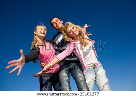 Happy funny team - stock photo