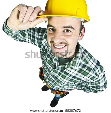 happy funny young handyman isolated on white background - stock photo