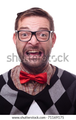 Happy geek laughing hysterically. Nerd series. - stock photo