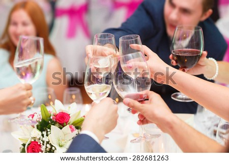 happy gests is celebrating special occasion in the restaurant - stock photo