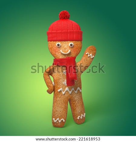 happy gingerbread man illustration, 3d cookie Christmas cartoon character - stock photo