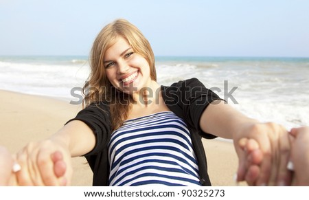 Happy girl at outdoor. - stock photo