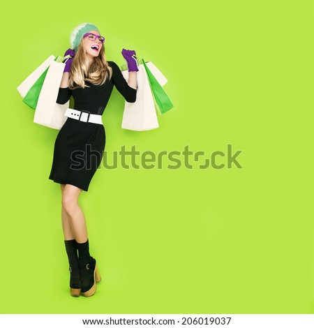 Happy girl bio shopping - stock photo