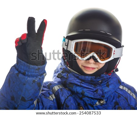 Happy girl in ski gear, isolated on white. - stock photo