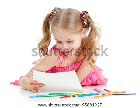 happy girl is taking look at her picture - stock photo