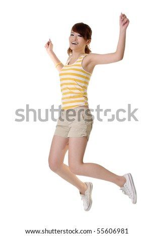 Happy girl jumping with smiling face isolated on white background. - stock photo