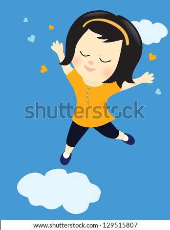 Happy girl on cloud nine - Jpeg - stock photo