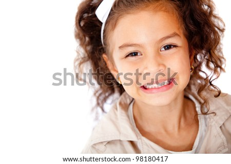 Happy girl portrait smiling - isolated over a white background - stock photo