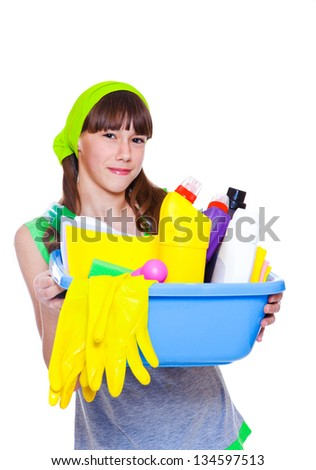 Happy girl ready for spring cleaning - stock photo