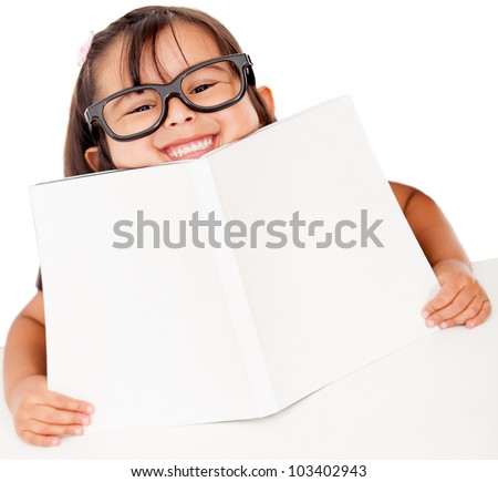 Happy girl studying with a book - isolated over white - stock photo