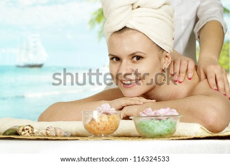 happy girl with a bright appearance rests in the spa - stock photo