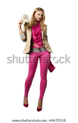 happy girl with a pink handbag and dollars - stock photo