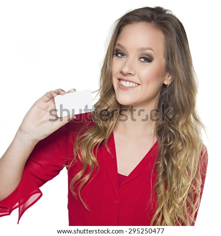 happy girl with business card over white - stock photo