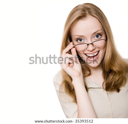 Happy girl with glasses - stock photo