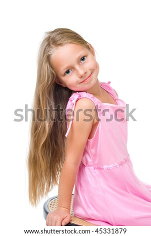 happy girl with long blond hair isolated on white - stock photo