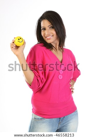 Happy girl with smile ball - stock photo