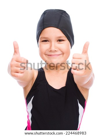 Happy girl with snorkel equipment, isolated over white - stock photo