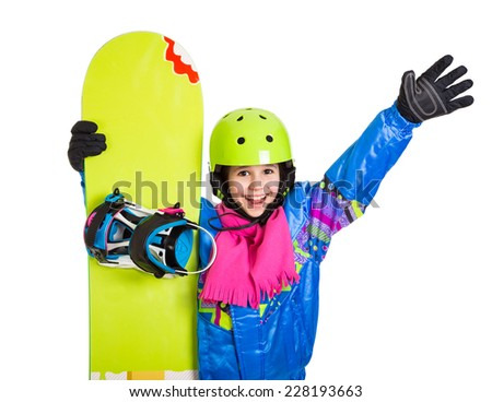 Happy girl with snowboard and greeting gesture, isolated on white - stock photo
