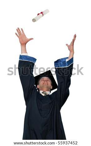 happy graduate student in cloak throwing up a diploma isolated - stock photo