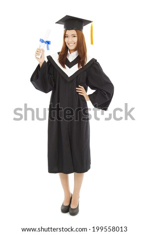 happy Graduate woman Holding diploma - stock photo