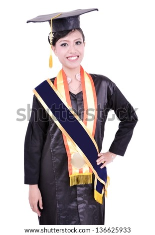 happy graduation by beautiful Asian woman, isolated on white background - stock photo
