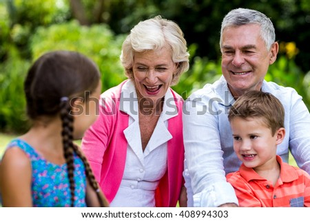 Happy grandparents relaxing with grandchildren at yard - stock photo