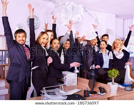 Happy group business people with hand up in office. - stock photo