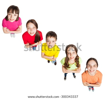 Happy group children isolated at white background. Smiling teen. Frendship boys and girls  - stock photo
