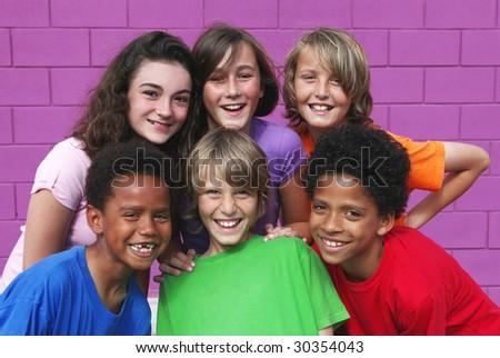 happy group kids - stock photo