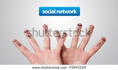 Happy group of finger smileys, social network theme - stock photo
