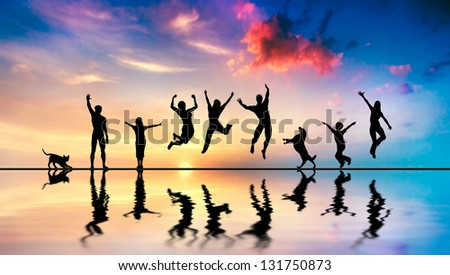 Happy group of friends, family with dog and cat jumping together at sunset, water reflection - stock photo
