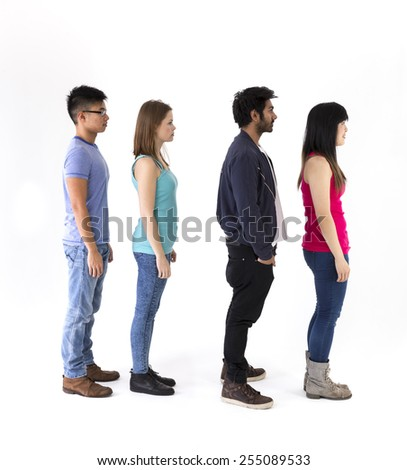 Happy group of friends standing in a line. Mixed race group. Isolated on a white background. - stock photo