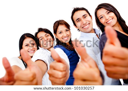 Happy group of friends with thumbs up - isolated over white - stock photo