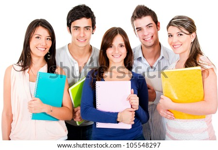 Happy group of students smiling - isolated over a white background - stock photo