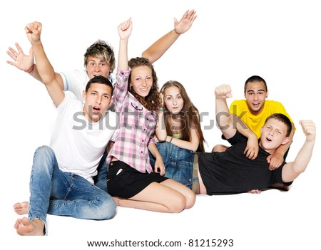 Happy group of young people. Isolated. - stock photo