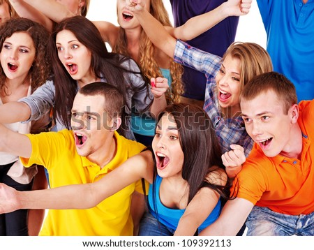 Happy group sport fan cheer for. Isolated. - stock photo