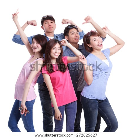 Happy group young people. Isolated on white background, asian - stock photo