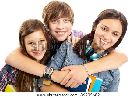 Happy guy embracing his two pretty friends - stock photo