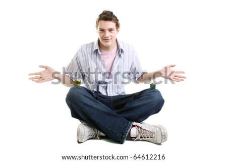 happy guy with two little gifts - stock photo