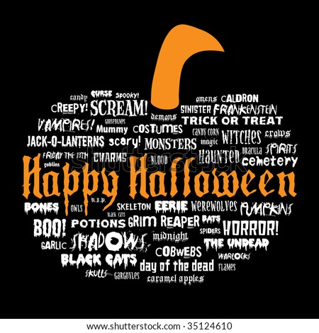 happy halloween and other scary words in the shape of a pumpkin on a black background - stock photo