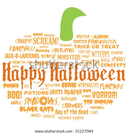 happy halloween and other scary words in the shape of a pumpkin on a white background - stock photo