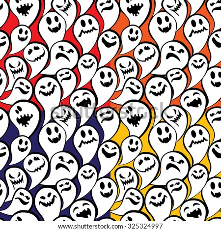 Happy Halloween Card with funny ghost. Invitation to party. Raster version  - stock photo