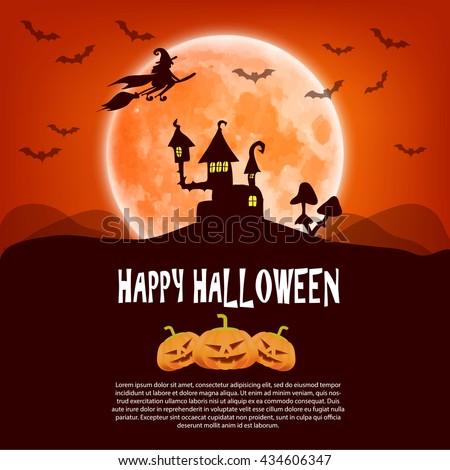 Happy Halloween card with pumpkin, moon and a witch on a broom - stock photo