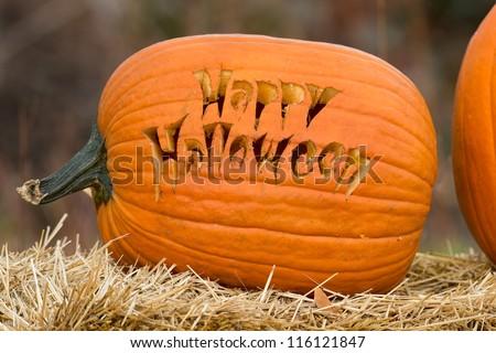 Happy Halloween carved pumpkin - stock photo